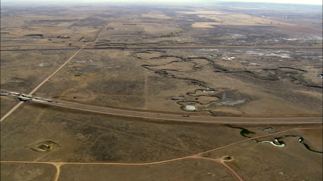 Interstate 90 East Of Gillette  - Aerial View - Wyoming, Campbell County, United States video