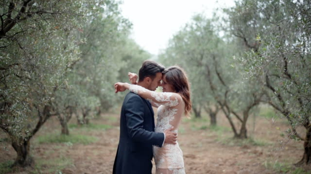 intimate sincere emotions of young couple in amazing olive trees garden, hugs and kisses concept. romantic dating among the nature, love and happiness in relationship - young couple wedding friends video stock e b–roll
