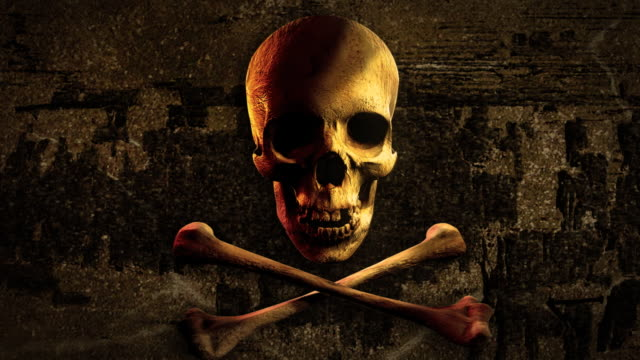 Into eye of Jolly Roger. Pirate skull and bones. video