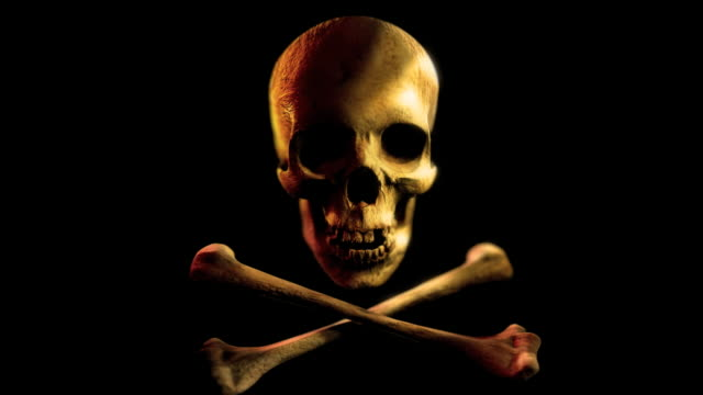 Into the eye of Jolly Roger.Pirate skull and bones. LOOP video