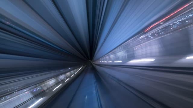 into the tunnel - tranvia video stock e b–roll