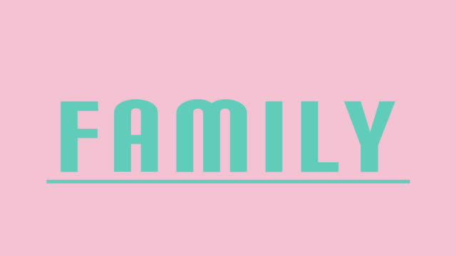 """""""family"""" intro graphics in teal against pink - femminilità video stock e b–roll"""