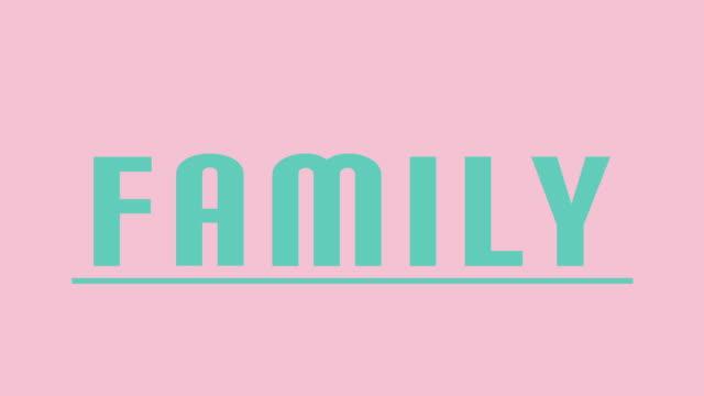 """vídeos y material grabado en eventos de stock de """"familia"""" intro gráficos en teal contra rosa - feminidad"""