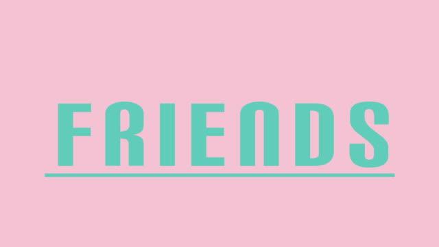 """vídeos y material grabado en eventos de stock de gráficos de intro de """"amigos"""" en teal contra rosa - feminidad"""