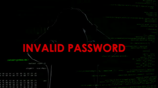 Invalid password, unsuccessful attempt to crack system, disappointed criminal video