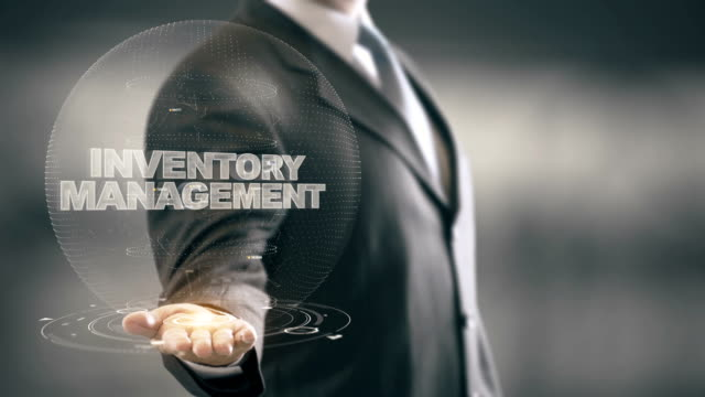 Inventory Management with hologram businessman concept video