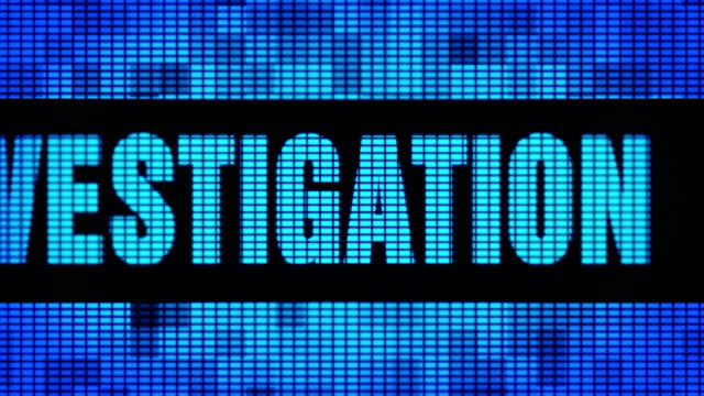 Investigation Front Text Scrolling LED Wall Pannel Display Sign Board Investigation Front Text Scrolling on Light Blue Digital LED Display Board Pixel Light Screen Looped Animation 4K Background. Sign Board , Blinking Light, Pixel Monitor . LED Wall Pannel detective stock videos & royalty-free footage