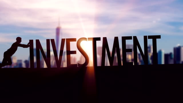 Investment  - Businessman silhouette pushing thematic title