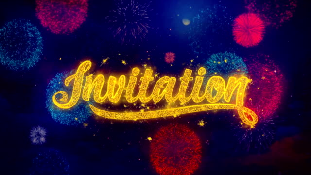 Invitation Firework Text Greeting Text Sparkle Particles on Colored Fireworks
