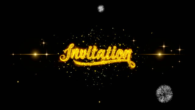 Invitation Text Particals Golden Text Blinking Particles with Golden Fireworks Display