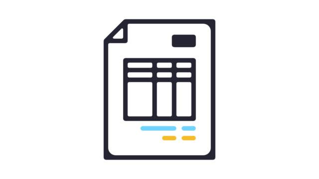 アルファ付きの請求書領収書ライン アイコン アニメーション - アイコン点の映像素材/bロール