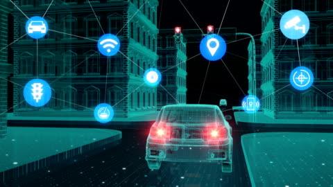 vídeos de stock e filmes b-roll de iot car connect traffic information control system, internet of things concept. - transporte assunto
