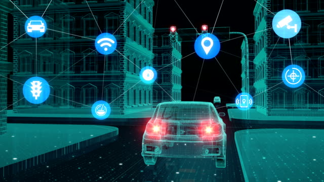 IoT car connect traffic information control system, Internet of things concept. video