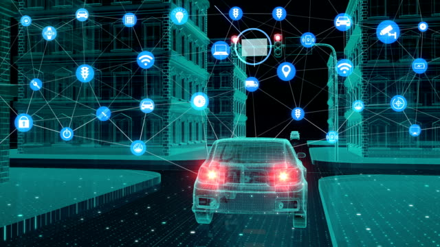 IoT car connect traffic information graphic icon control system, Internet of things concept. video