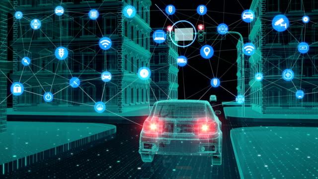 IoT 車交通情報グラフィックのアイコン管理システム、こと概念のインターネットに接続します。 ビデオ