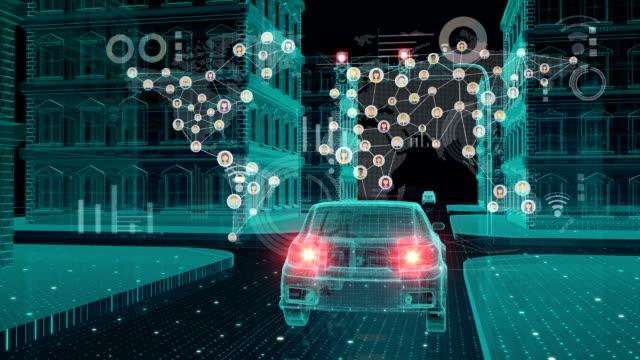 IoT 車接続トラフィック情報アイコン、地図、制御システム、物事 concept.2 のインターネットの世界を作るします。 ビデオ