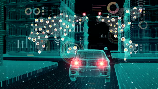 IoT car connect traffic information icon, making world map, control system, Internet of things concept.1. video