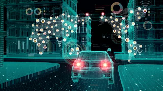 IoT 車接続トラフィック情報アイコン、地図、制御システム、物事 concept.1 のインターネットの世界を作るします。 ビデオ
