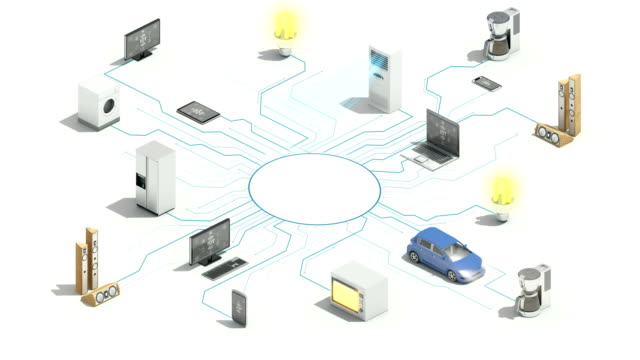 vídeos de stock e filmes b-roll de 'iot' connecting smart home appliances automation, internet of things, 4k. - shop icon