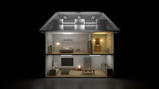stockvideo's en b-roll-footage met 3d iot house licht aan / uit-energiebesparend efficiëntie control, smart huistoestellen, internet van dingen. 4 k film. - isometric