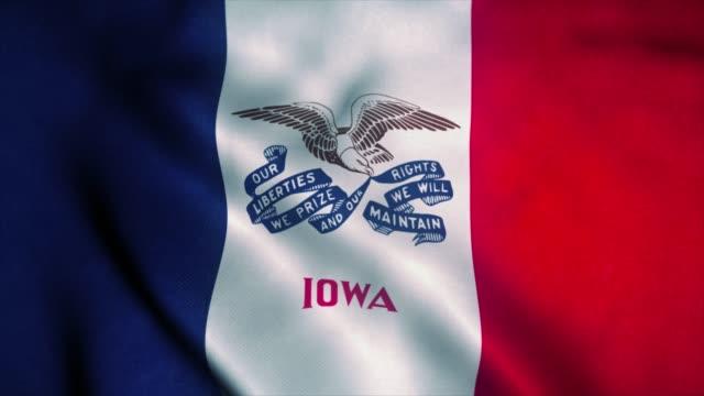 iowa flagga vinkar i vinden. usa:s flagga. tecken på iowa sömlös loop animation. 4k (4k) - djurarm bildbanksvideor och videomaterial från bakom kulisserna
