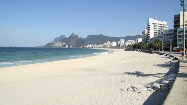 Ipanema beach deserted during the quarantine during Covid-19 Coronavirus outbreak