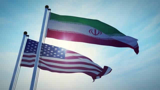 伊朗和美國國旗顯示政府的侵略和分歧。 - 伊朗 個影片檔及 b 捲影像