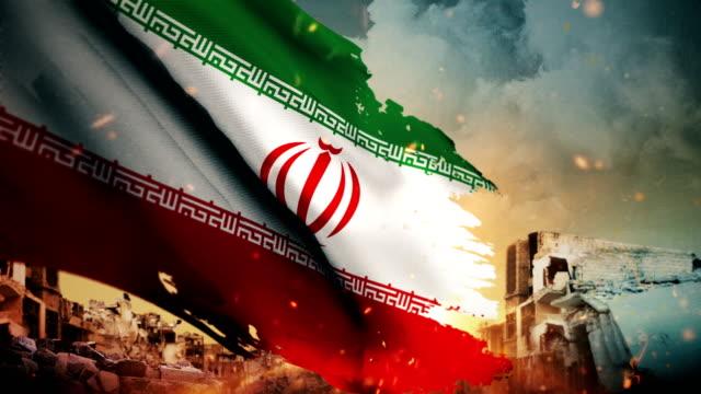 4k 伊朗旗子-危機或戰爭或火 (圓環) - 伊朗 個影片檔及 b 捲影像