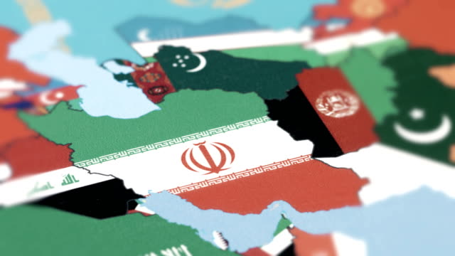 Iran with National Flag on World Map