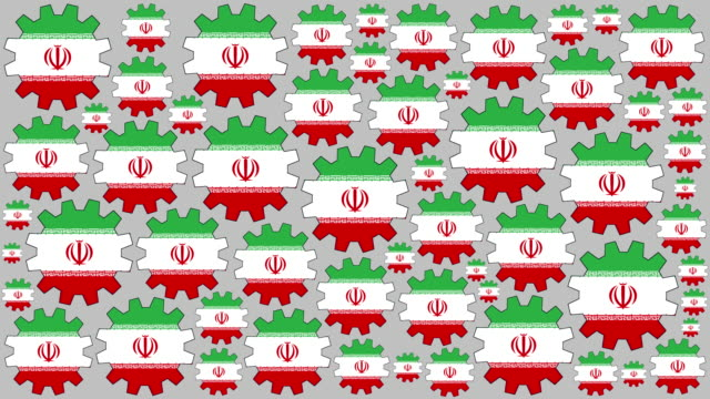 Iranian flag gears spinning background