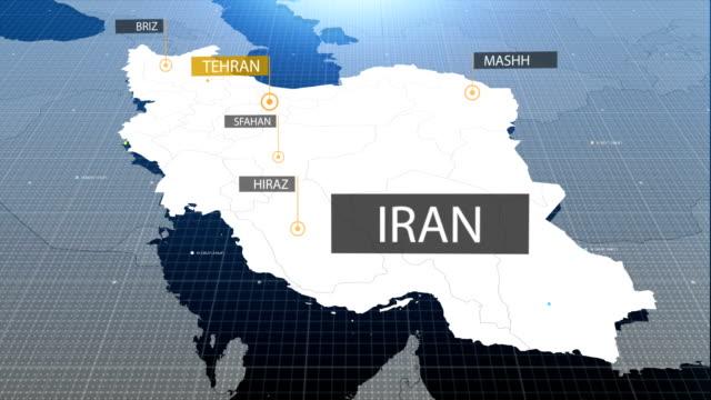 伊朗地圖,然後帶出標籤的標籤 - 伊朗 個影片檔及 b 捲影像