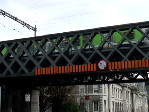 Ireland: Dublin Commuter Train Crosses Road Bridge video