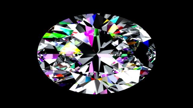 Iridescent Diamond Oval. Looped. Alpha Matte. 3D Animation video