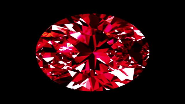 Iridescent Ruby Oval Cut. Looped. Alpha Matte. video