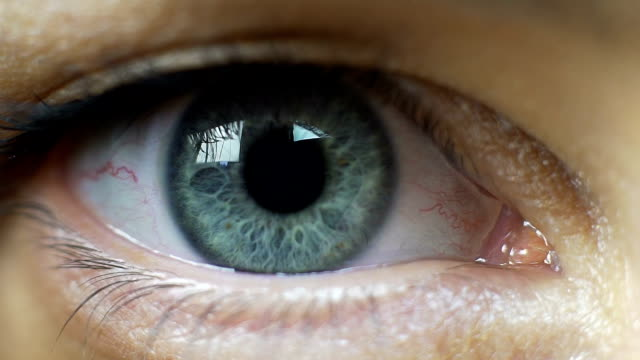 iris eye becomes bigger and light conditions change, fear or adrenaline pumps - adrenalina video stock e b–roll