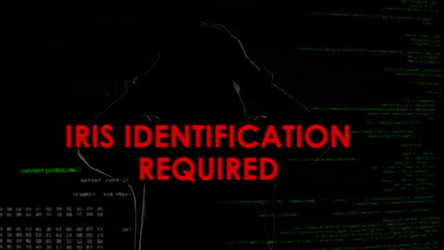 Iris identification required, unsuccessful hacking attempt on server, failure video