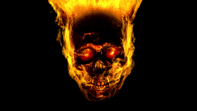 Iron skull in flame Burning iron skull with red eyes. Matte included. skull stock videos & royalty-free footage
