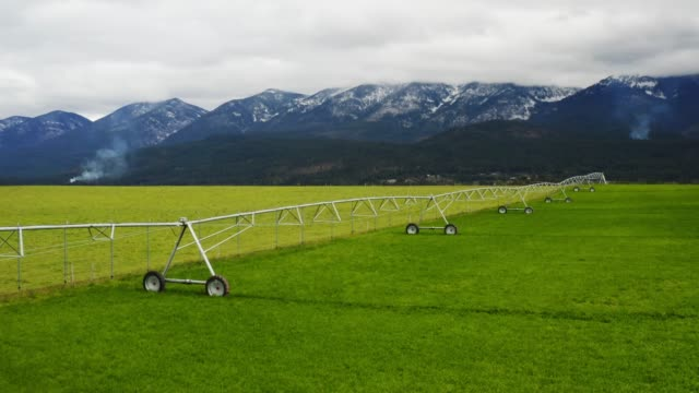 Irrigation system in Montana countryside