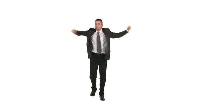 HD: Irritated Businessman HD1080i: Businessman gesturing wildly,  stamping and acting all irritated while standing isolated on a white background. Wide shot. stamping feet stock videos & royalty-free footage