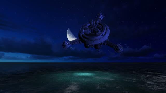 ufo は海の上を飛んでください。 - ソーサー点の映像素材/bロール