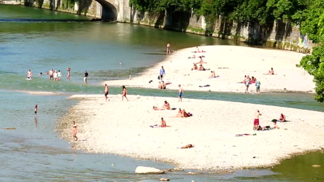 Isar river in Muinch Isar river in Muinch coastal feature stock videos & royalty-free footage