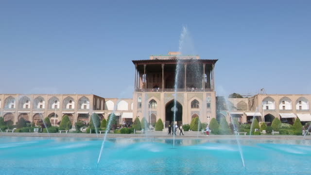 Isfahan pool and fountains in the city square video