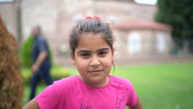 Islam Syrian Child Girl Portrait Islam Syrian Child Girl Portrait syria stock videos & royalty-free footage