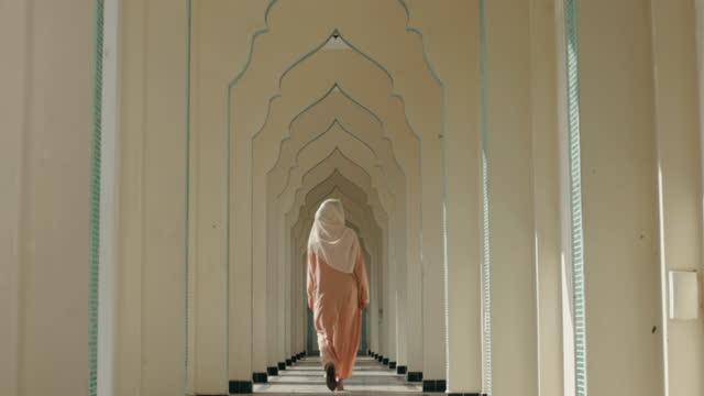 Islam woman traveling church-stock video video