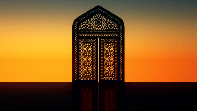 islamic gate, sunrise, sunshine - stock video - ramadan stock videos and b-roll footage