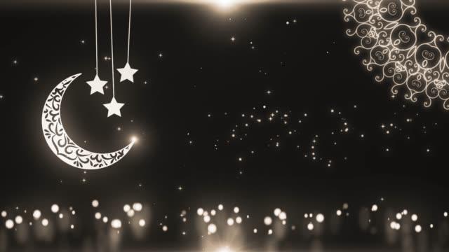 islamisk ramadan bakgrund med moonen och lanters. symbol för fasta, iftar, sahoor, eid, islamıc ritual och traditioner - eid al fitr bildbanksvideor och videomaterial från bakom kulisserna