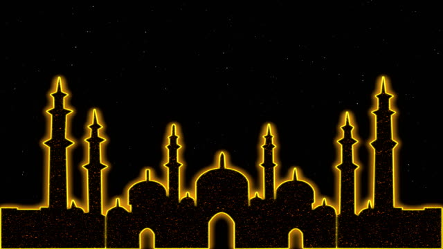 Islâmico Ramadã Eid Neon fundo - vídeo