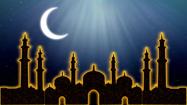 Islamic Ramadan Eid Neon Background Stock Video - Download