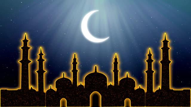 islamic ramadan eid neon background - ramadan kareem стоковые видео и кадры b-roll