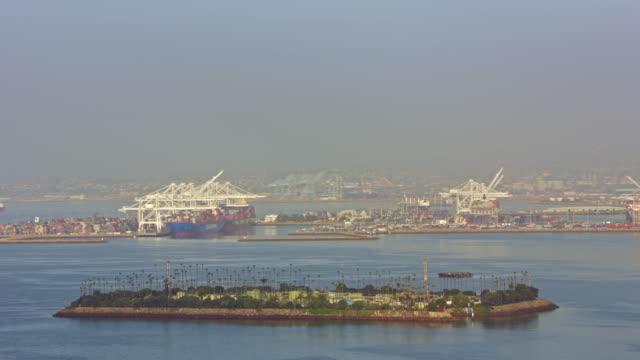 AERIAL Island Freeman overlooking the Port of Long Beach, California